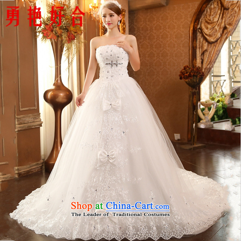 Yong-yeon and 2015 New Korean minimalist wiping the chest wedding retro white marriages lace large wedding Trailing White?XXL