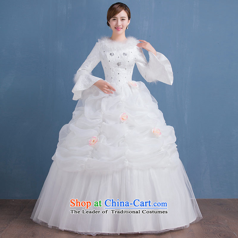 The Bride in the winter of long-sleeved to align the cotton wedding dress code version of large Korean video thin new 2015 winter wedding female white made size does not accept return