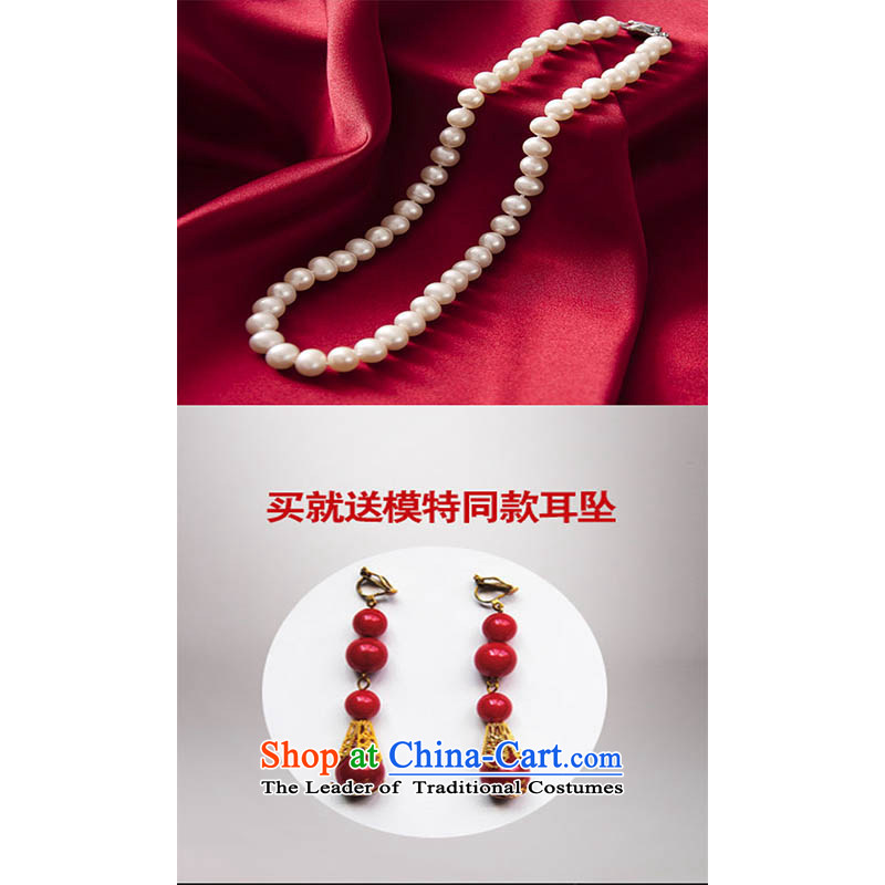 Pearl earrings with water drilling pearl necklaces chinese president ear ornaments marriage necklace cheongsam dress accessories red