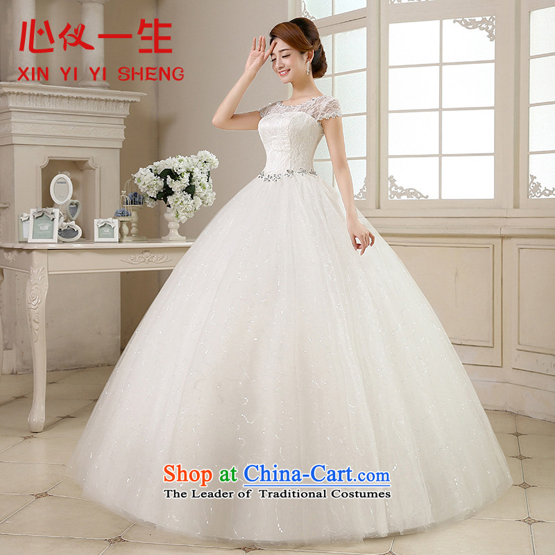 On the first of the wedding dress 2015 new autumn and winter large graphics thin retro Korean word minimalist shoulder lace align to bind with wedding white?S