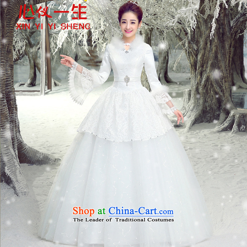 On the first of the wedding dress 2015 new Korean brides large graphics to align the thin shoulders the word wedding shoulder of autumn and winter plus cotton long-sleeved bon bon skirt wedding White?M