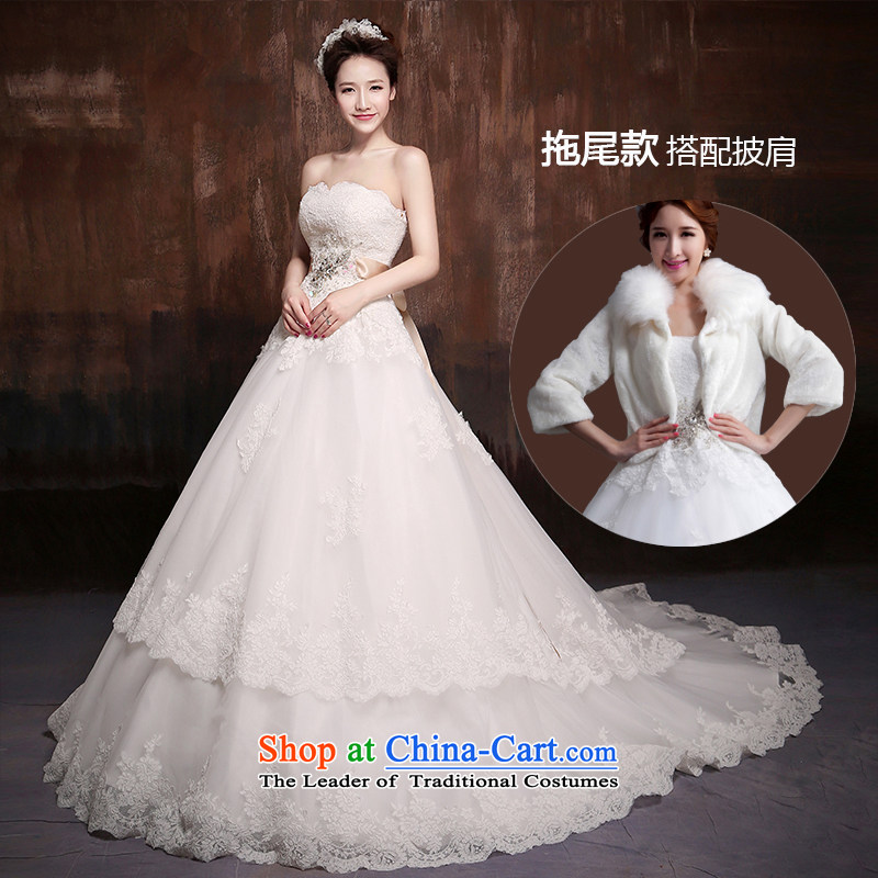 2015 New Custom bride larger video thin lace wiping the chest small trailing wedding dresses to align the minimalist Korean winter tail + gross shawl聽M