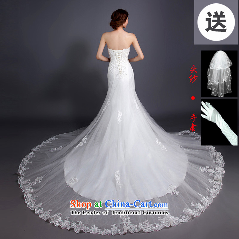Korean brides retro Sau San video thin crowsfoot tail wedding dresses new 2015 anointed chest lace of autumn and winter white聽L