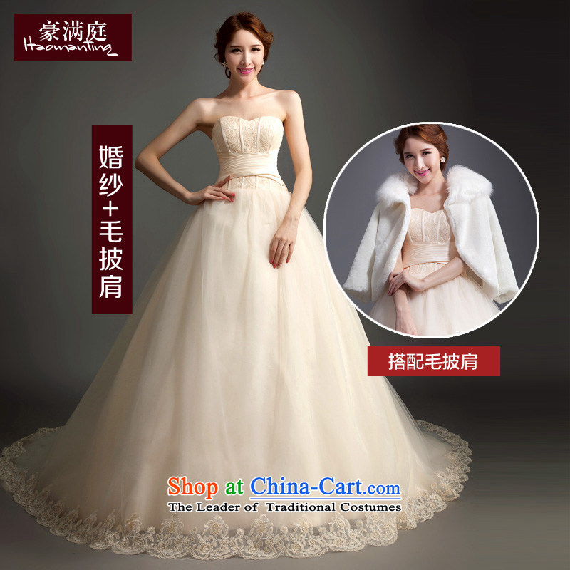 Ho full Chamber 2015 new wedding long tail and chest video thin lace champagne wedding bride wedding wedding dresses wedding + gross shawl聽XL