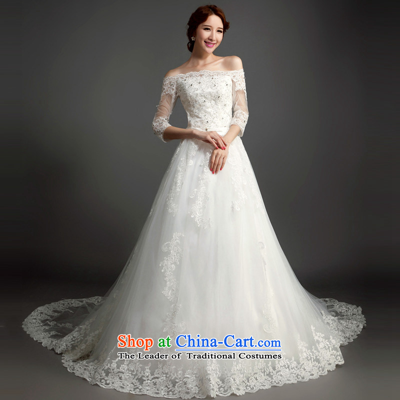 Ho full Chamber wedding dresses new Word 2015 stylish shoulder length tail wedding 7 cuff lace Sau San Korean White�XL