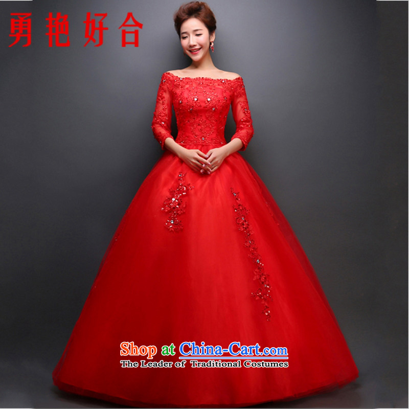 Yong-yeon and wedding dresses 2015 new spring and summer bride a long-sleeved Korean-style field shoulder lace big red to straighten the wedding red?XL