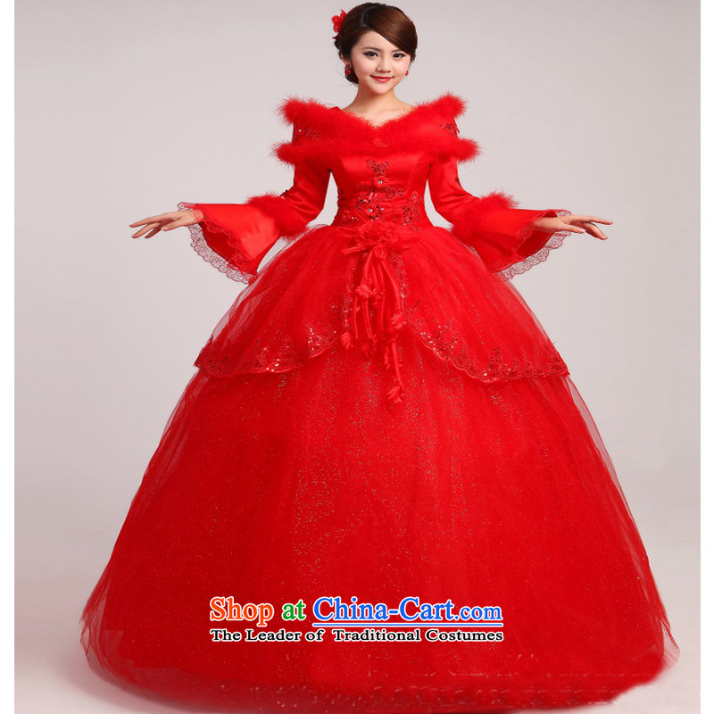 On earlier wedding dresses Korean version of the Word 2015 new shoulder the cotton winter align long-sleeved to bind with Sau San wedding red made no refunds or exchanges Size