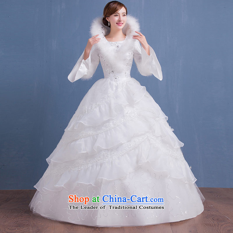 Qing Hua yarn winter new long-sleeved warm Wedding 2015 marriages wedding white princess bon bon skirt Korean version thin white L