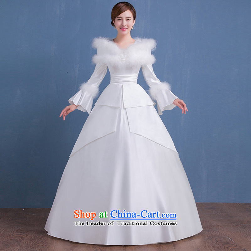 Qing Hua yarn of autumn and winter new wedding Korean sweet to align the long-sleeved marriages video thin princess dress Warm Wedding White�XL
