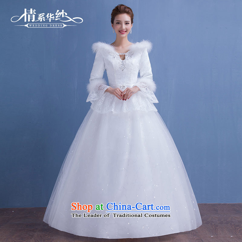 Qing Hua yarn Korea version 2015 autumn and winter new winter clothing marriages long-sleeved plus cotton winter wedding dresses thin white make video size does not accept return