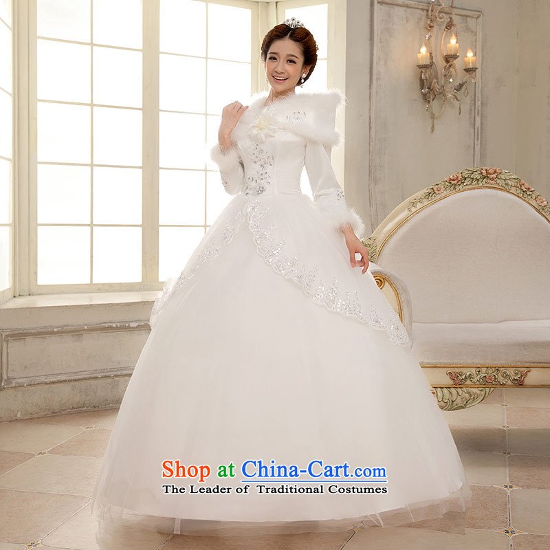Qing Hua 2015 winter new yarn long-sleeved clip cotton yarn Korean version, thin bride wedding dresses White?M