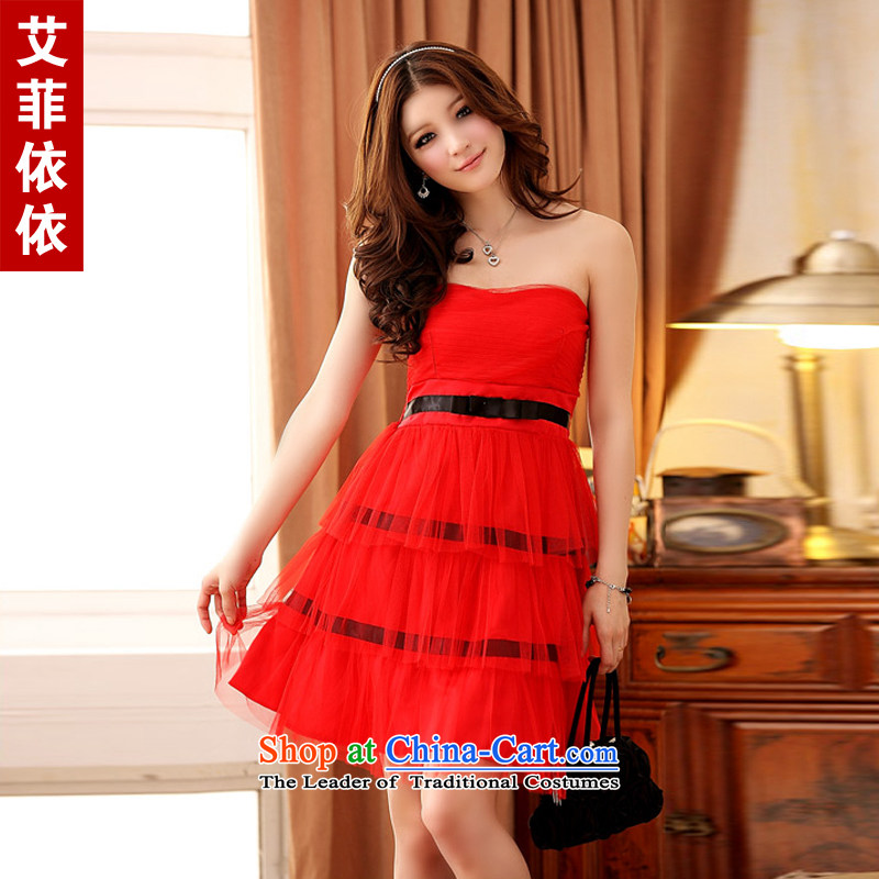 Of the�2015 Korean glued to the new women's short of married women bows cake layers of winding chest gauze Princess Mary Magdalene chest moderator small dress skirt are Code Red 3844th