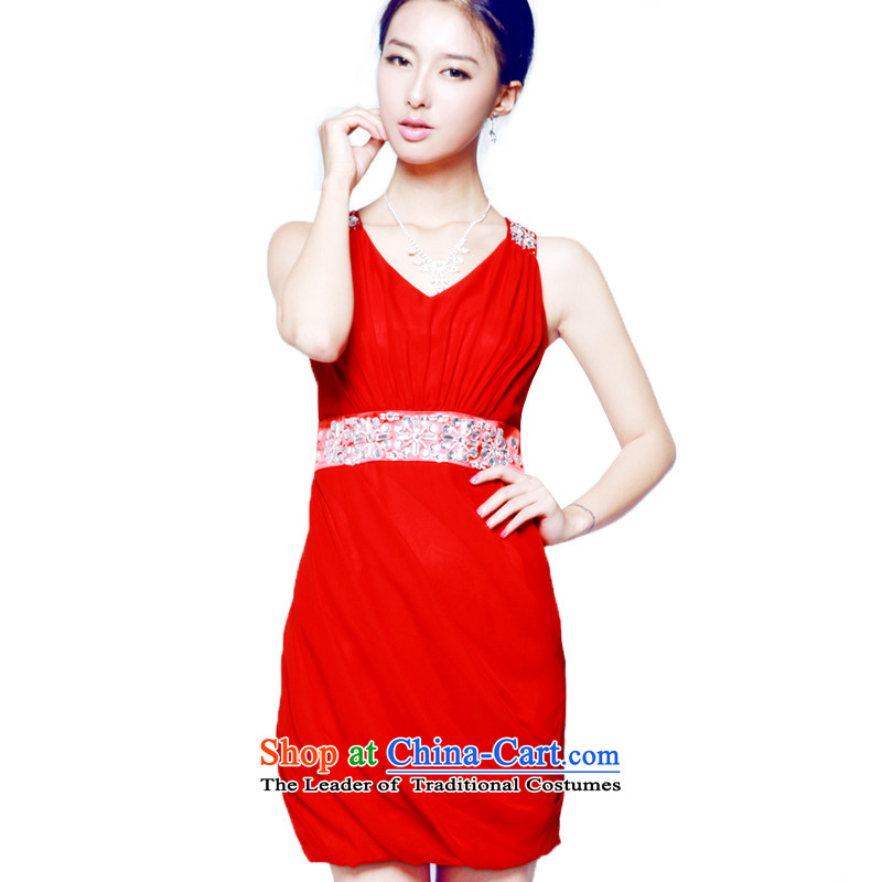 2014 new mak-hee elegance Red Dress Short of marriage bows bridesmaid to skirt the water shortage of drilling decorated?XL/170 Red Dress