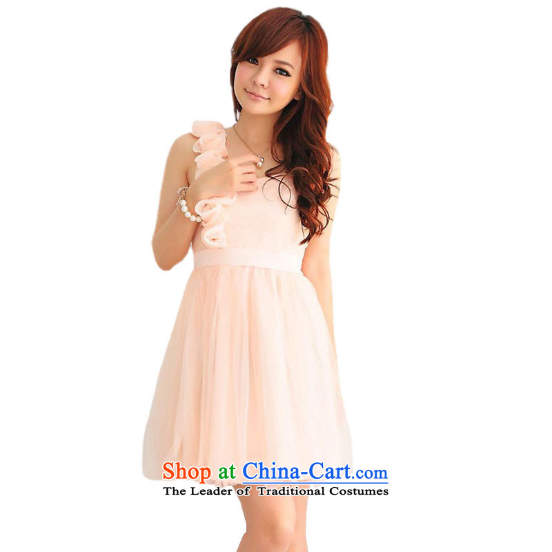 Of the glued to the shoulder and chest small dresses Princess�2015 annual meeting of the Korean short hosted a lace flowers Foutune of dresses 3759th pink�L