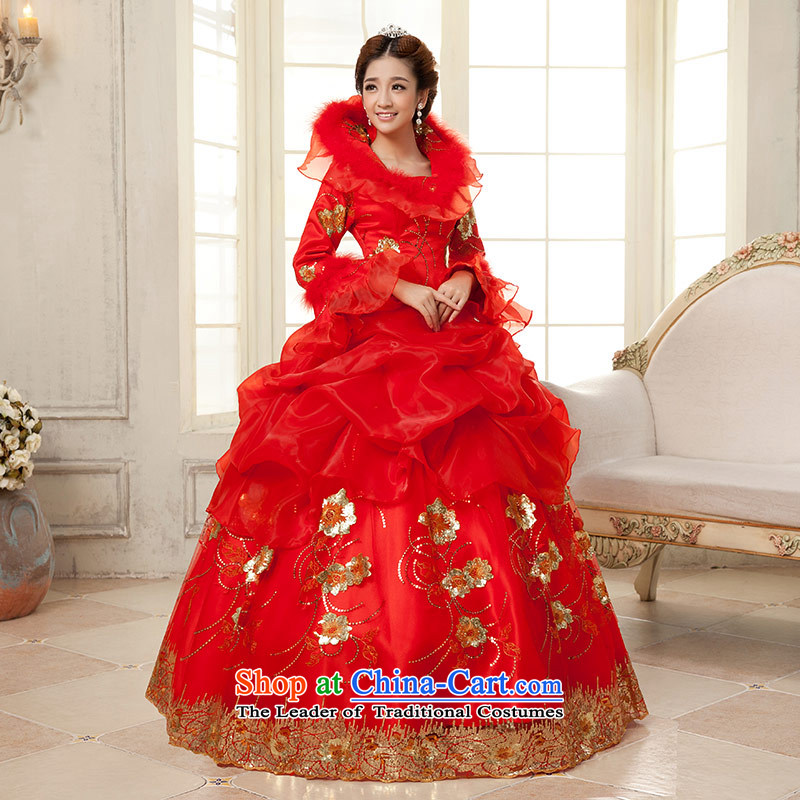 Qing Hua 2015 winter new yarn long-sleeved clip cotton yarn Korean version, thin bride wedding dresses red bride wedding dress RED M
