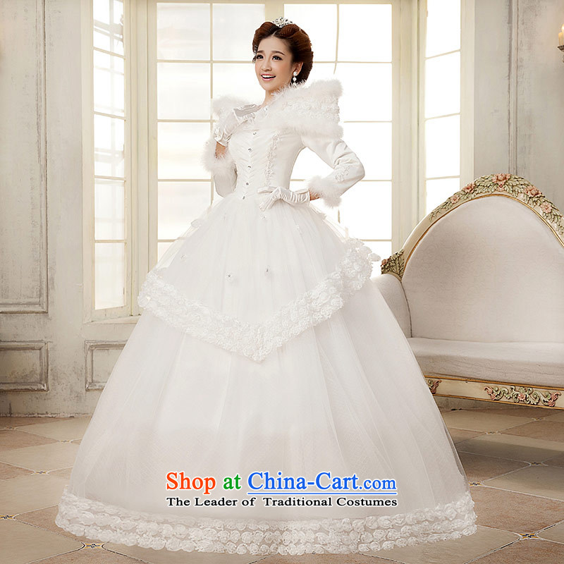 Qing Hua?2015 winter new yarn wedding Korean brides princess long-sleeved folder cotton warm white wedding word shoulder White?XL
