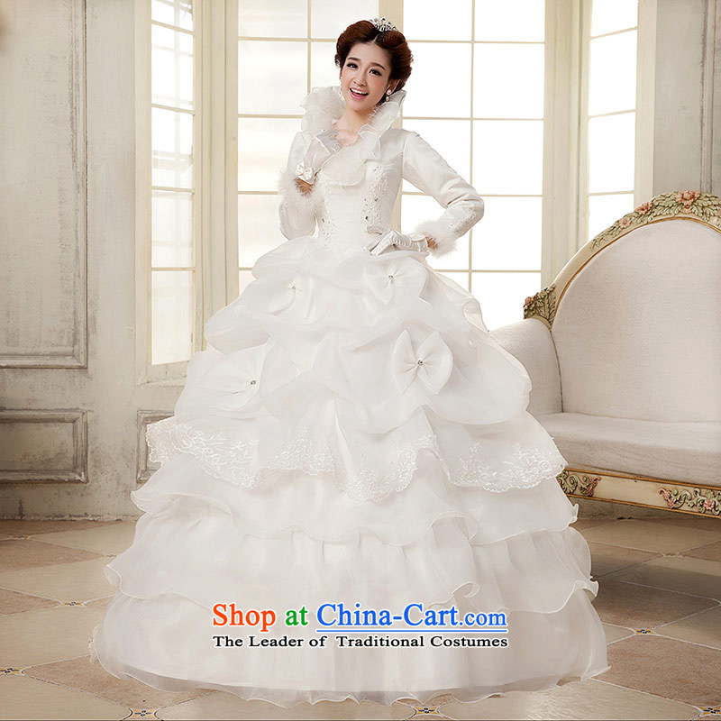 Qing Hua 2015 winter new yarn wedding dresses white princess graphics wedding long-sleeved folder thin cotton warm bride wedding dress White XXL