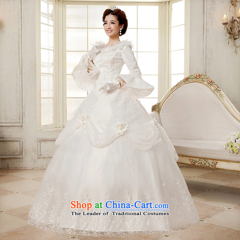 Qing Hua?2015 winter new yarn wedding Korean brides princess long-sleeved folder cotton warm wedding dress party White?M Princess