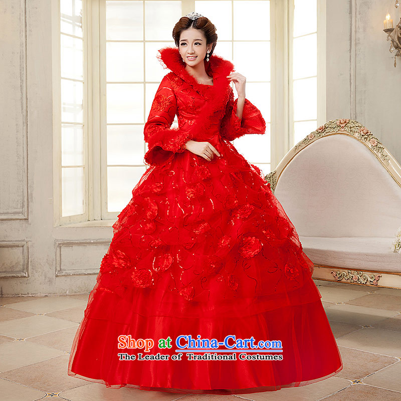 Qing Hua yarn?New Red Winter 2015 wedding long-sleeved folder cotton warm bride wedding dress lovely Korean flower red?XL