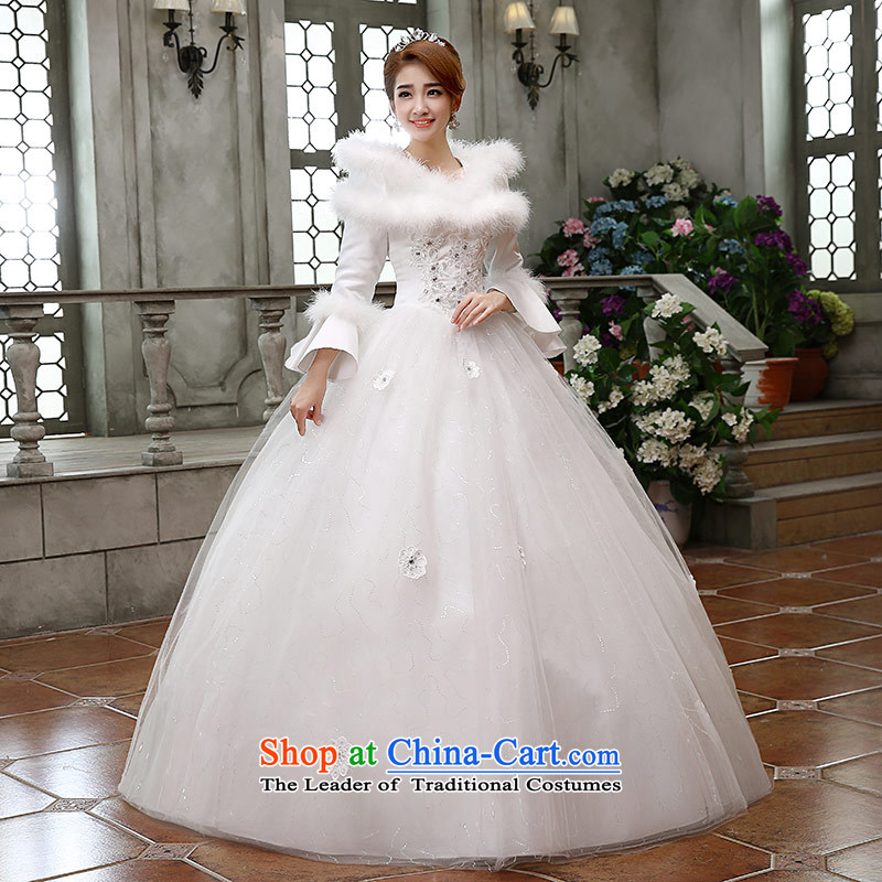 Qing Hua yarn?new bride winter 2015 Cotton wedding long-sleeved Princess Marriage won the Word version shoulder bridal dresses White?XXL