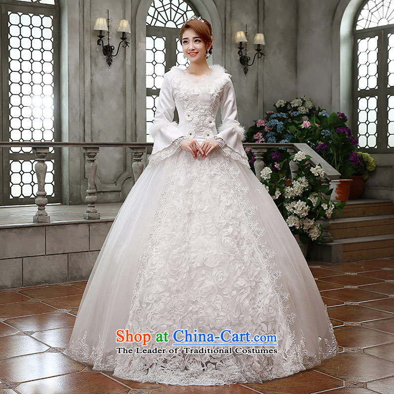 Qing Hua?2015 winter new yarn wedding Korean brides princess long-sleeved folder cotton warm wedding dress shoring princess lace white made size does not accept return