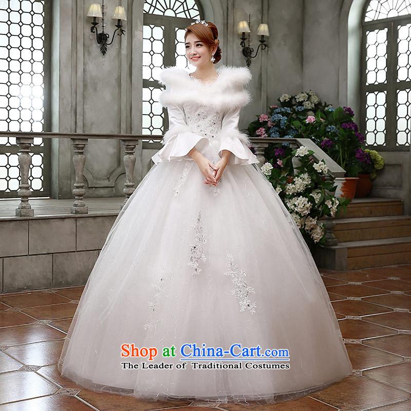 Qing Hua2015 winter new yarn wedding Korean brides princess long-sleeved folder cotton warm wedding dress party 02 Princess WhiteXL
