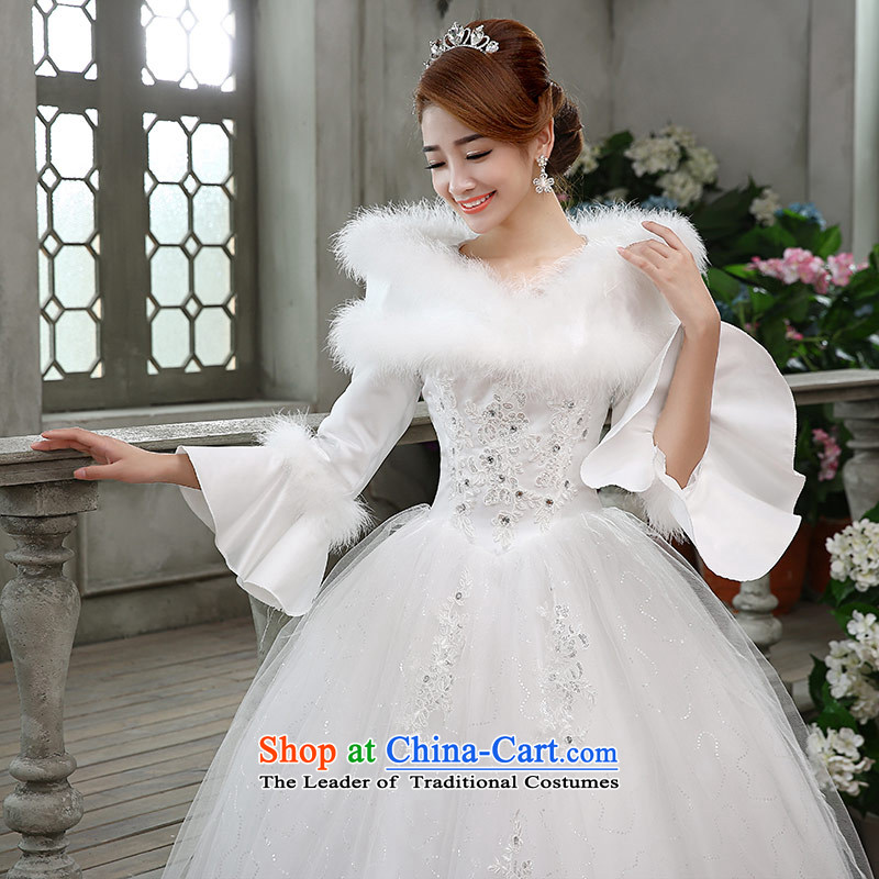 Qing Hua2015 winter new yarn wedding Korean brides princess long-sleeved folder cotton warm wedding dress party 02 Princess WhiteXL, Qing Hua yarn , , , shopping on the Internet