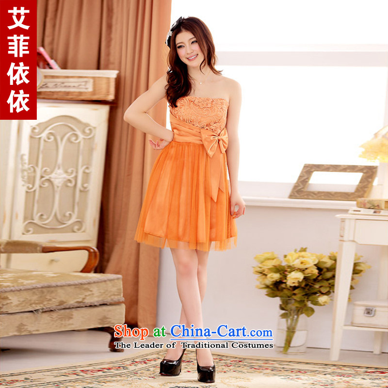 Of the�Korean version of the new 2015 reft of short, under the auspices of the sister bridesmaid gauze yarn Victoria Princess Sweet Dish with chest small dresses annual dresses 3856 ORANGE�XXXL