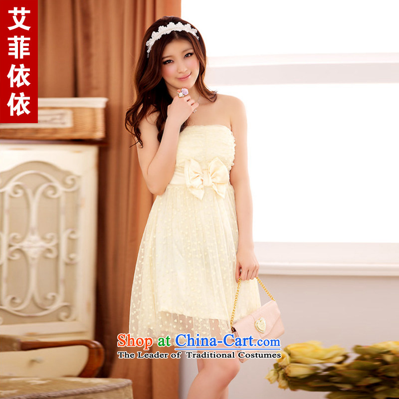 Of the?2015 Korean glued to the new women's short of married women bridesmaid chaired flocking love's disk-perfect content Foutune of small dress skirt 3858 champagne color are code