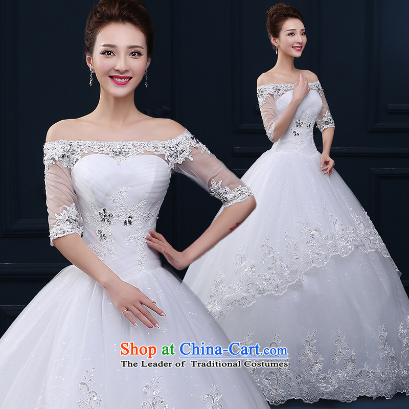 Tim hates makeup and wedding dresses 2015 winter new Superior First field shoulder wedding sleeves wedding dresses larger pregnant women video thin bride wedding dresses winter HS004 White聽XXL