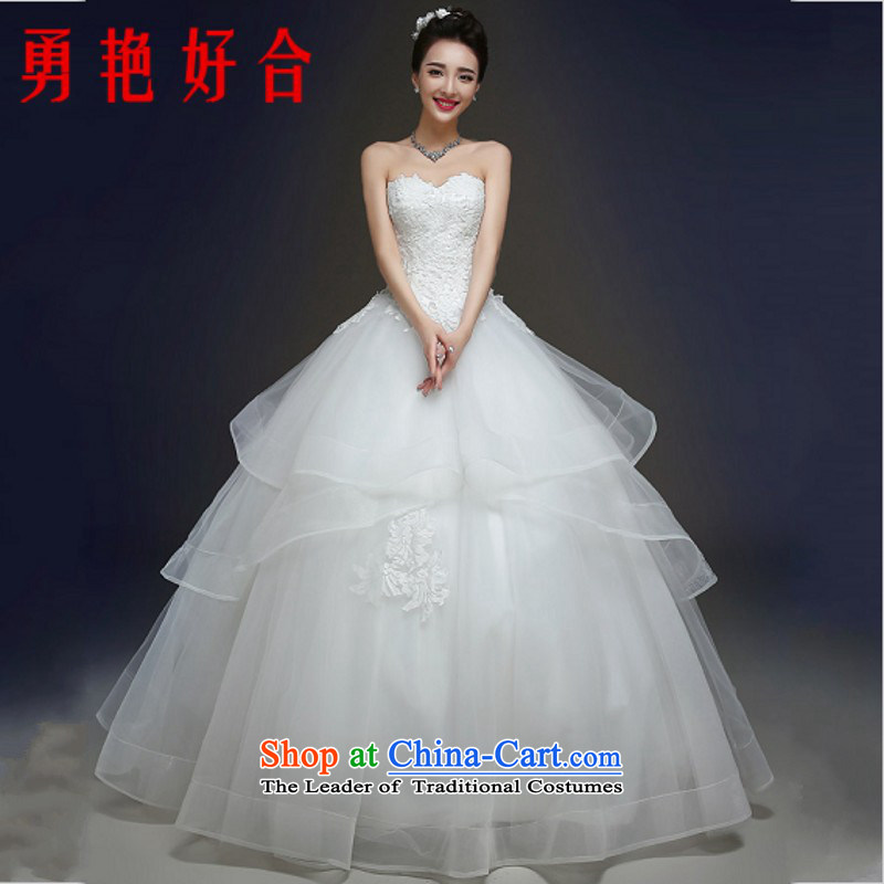 Yong-yeon and autumn and winter wedding dresses new stylish marriages and 2015 chest lace straps to Sau San White M Alignment