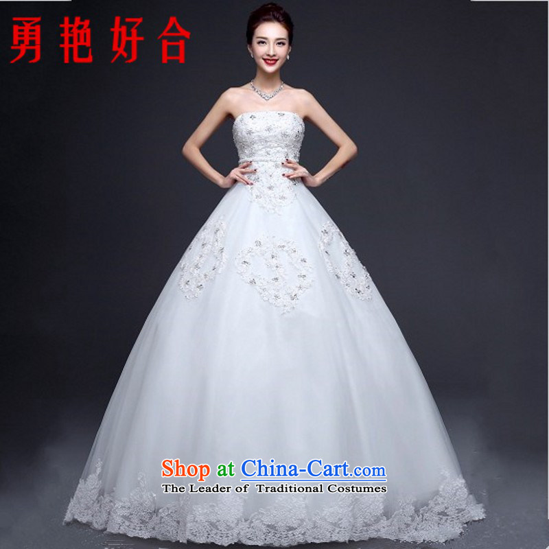 Yong-yeon and autumn and winter wedding dresses new stylish marriages and 2015 chest lace straps to align the Sau San White?XXL