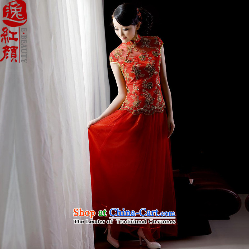 The elections as soon as possible new 2014Yat lady for women improved cheongsam dress red stylish wedding dress bows to sepia bride with Yi skirt ND002 RED?S