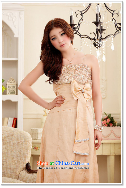 Of the 2015 Korean glued to the new women's marriage banquet modestly elegant lace water drilling Bow Tie long dress Sau San dresses 3948 champagne color pictures, prices, XL brand platters! The elections are supplied in the national character of distribution, so action, buy now enjoy more preferential! As soon as possible.