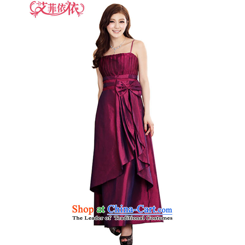 Of the�Korean version of the new 2015 reft of long marriage banquet hosted bows irrepressible atmospheric creases Bow Tie Foutune of wiping the chest straps dress skirt 3970 aubergine�XXL