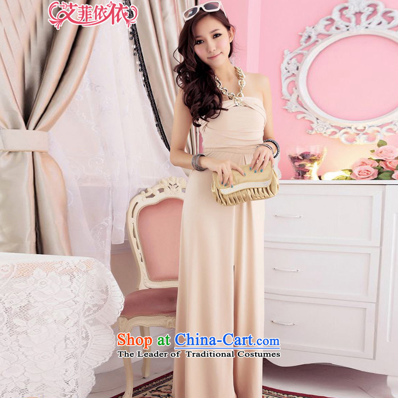 Of the�2015 Korean glued to the new women's long annual meeting of persons chairing the banquet bows elegant pure colors of the forklift truck must Hang Sau San evening dress skirt 4014 apricot�XL
