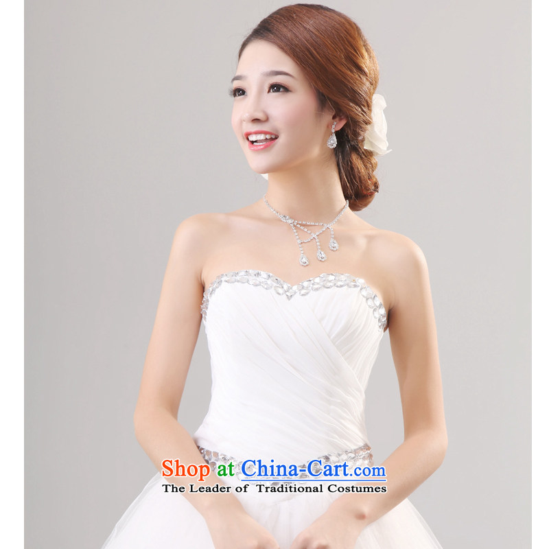 2014 New Mak Hee-sweet princess wedding water drilling elegantly designed minimalist Crystal Palace Korean Princess drill�M/160 White