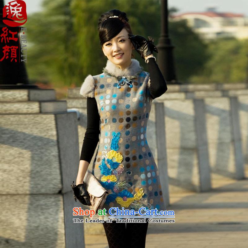 A Pinwheel Without Wind Qinyang Yat Yang original qipao winter new rabbit hair for short) improvement of gross? New retro cheongsam dress autumn Suit?M
