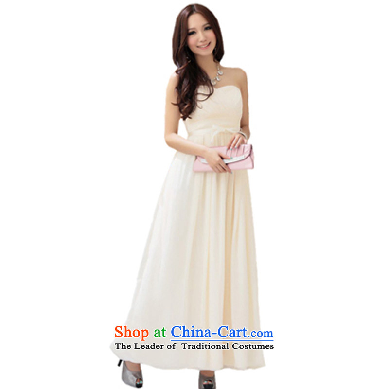 Of the glued to the long high waist strain evening dresses female Korean version of the new 2015 annual meeting of the persons chairing the banquet gliding dresses 4240 apricot�XL