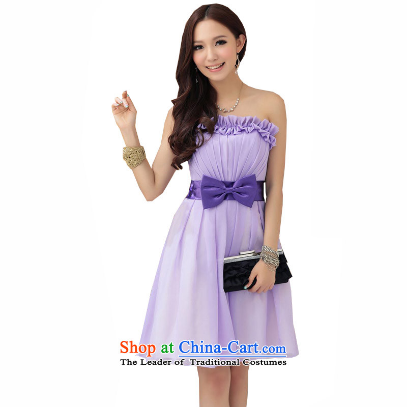 Reft short) Eiffel elegant Bow Ties With chest small�Korean dress 2015 Marriage banquet hosted bridesmaid billowy flounces wedding dress sister 4270 light purple�XL