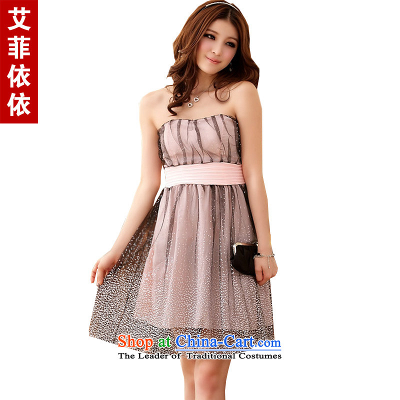 The Super Star With glued to the Eiffel gauze�2015 Korean small dress short of the new sister Princess stage performances and chest yarn Foutune of dress skirt 4284 pink�XXL