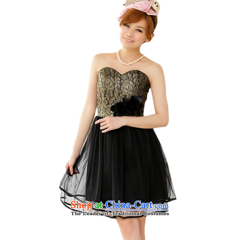 Of the glued to the noble gauze wiping the chest dress skirt 2015 Korean new women's short of flowers of filigree annual meeting of persons chairing the skirt 4278 Golden XXL