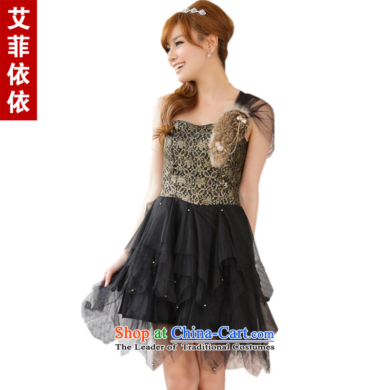 Of the glued to the shoulder under the netting of small dress�2015 Korean New short) under the auspices of the sister bridesmaid rabbit hair does not rule the skirt 4280 Black are code