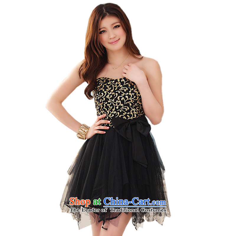 The Eiffel Tower is not glued to the rules and chest evening dresses?2015 Korean new women's short of marriage banquet bridesmaid bride bow tie ironing skirts 4310 Black are code