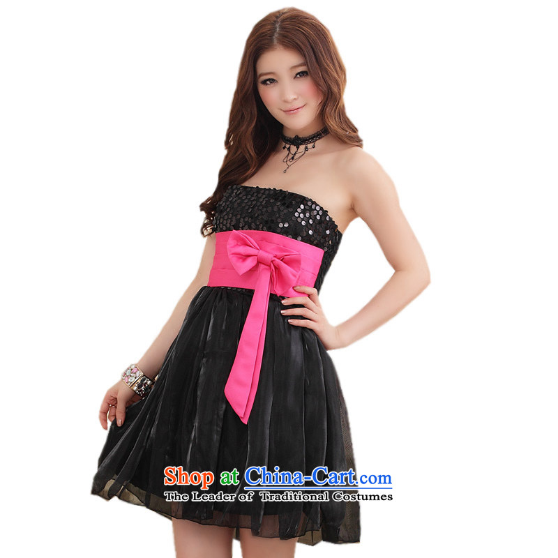 Of the spell checker color anointed chest glued to the evening dress?2015 Korean small new women's short of marriage moderator bridesmaid sister on-chip loaded Foutune of skirt 4306 Black are code