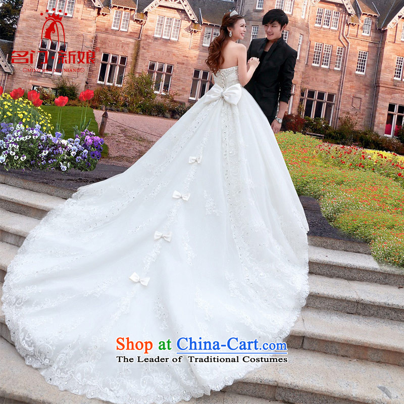 Name the new bride door limousine tail wedding sweet princess v-neck wedding dress A970 L