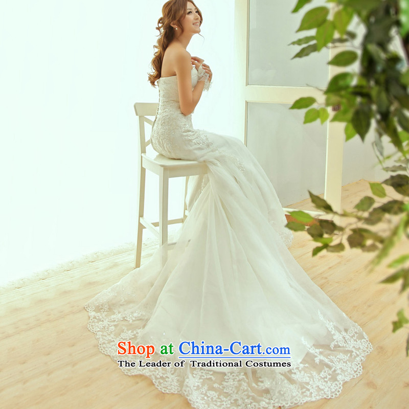 The Korean version of the new 2015 viewed crowsfoot wedding dresses Antique Lace tail anointed chest wedding real concept�S800�tail 165-L 60cm