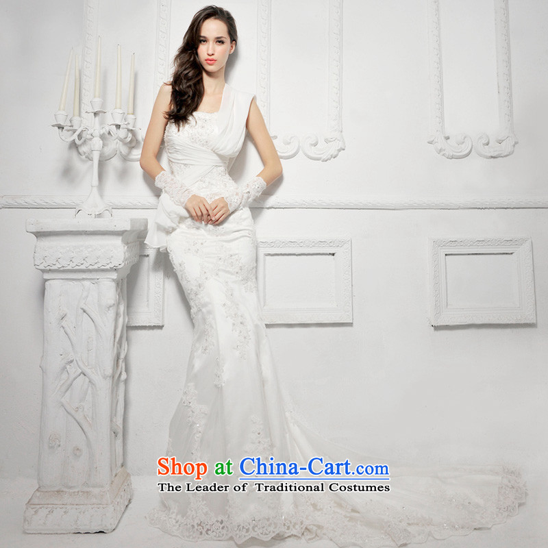 Full Chamber _MTF Fang 2015 new S1285 elegant lace tail crowsfoot bride wedding ivory tail 173-XL 50cm