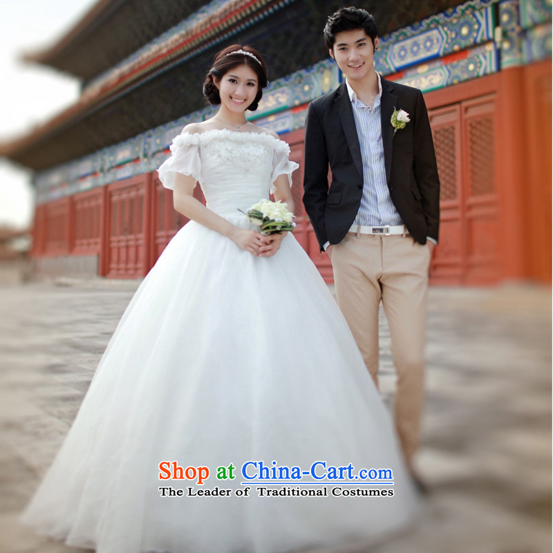 The new Word 2015 shoulder Korean star wedding dresses of the same to align the sweet princess wedding S620 land?173-XL Alignment