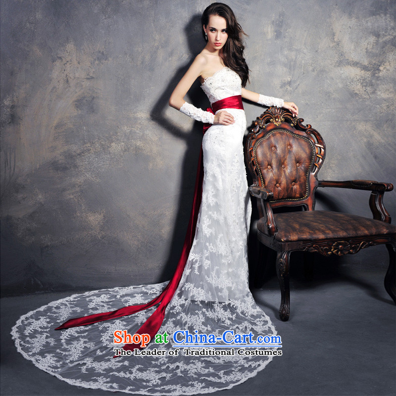 Full Chamber _MTF Fang 2015 new compact occidental anointed chest lace crowsfoot bride wedding聽s1209聽ivory tail tailored 50cm
